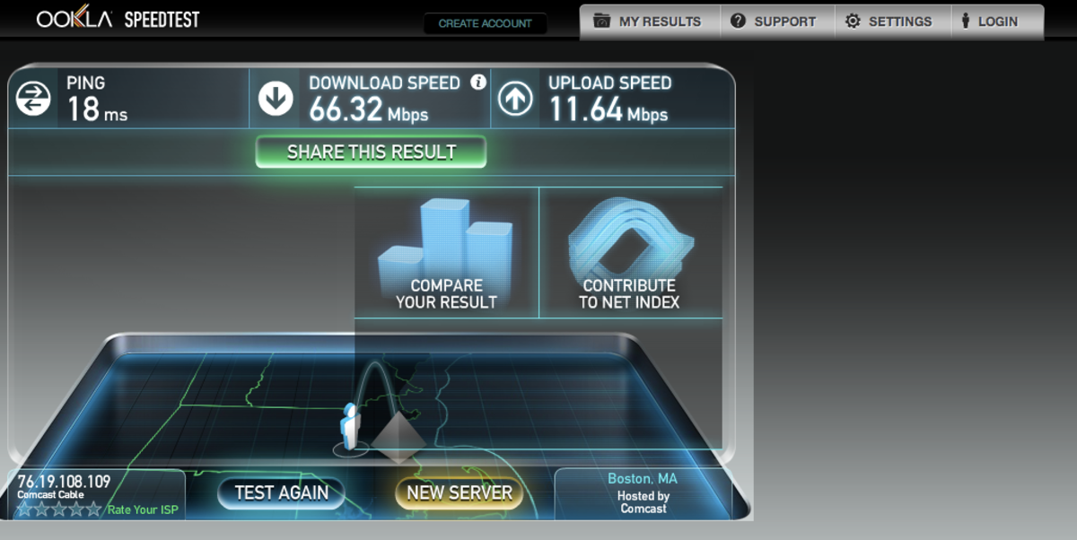 Internet Speeds when connected with Ethernet.