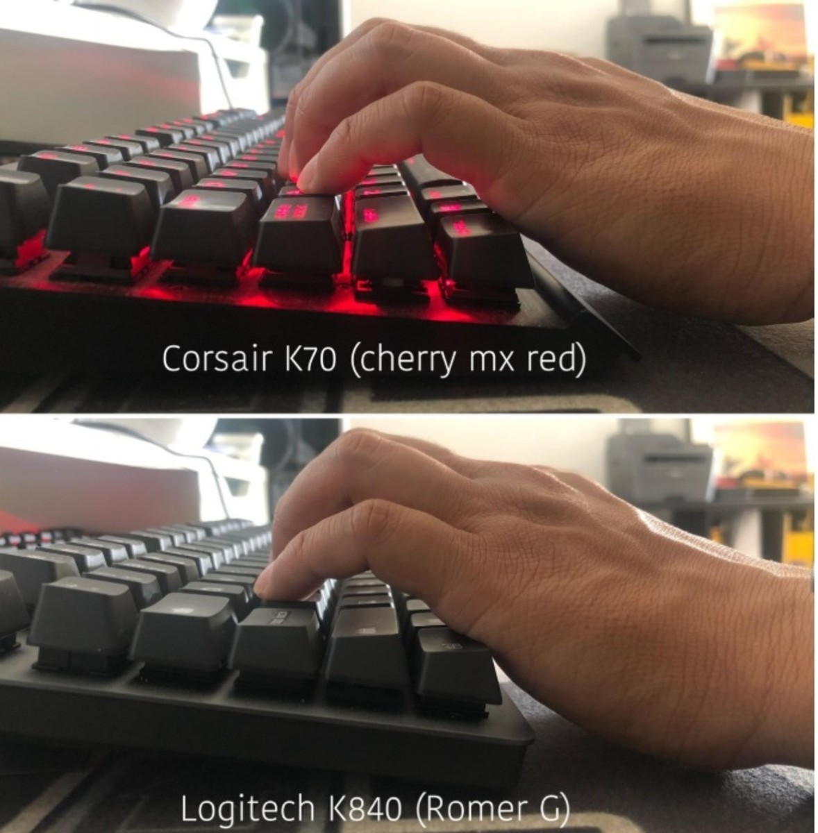 Here's a very useful pic comparing the stance of the keys on the Corsair K70 (listed below) and the Logitech K840.