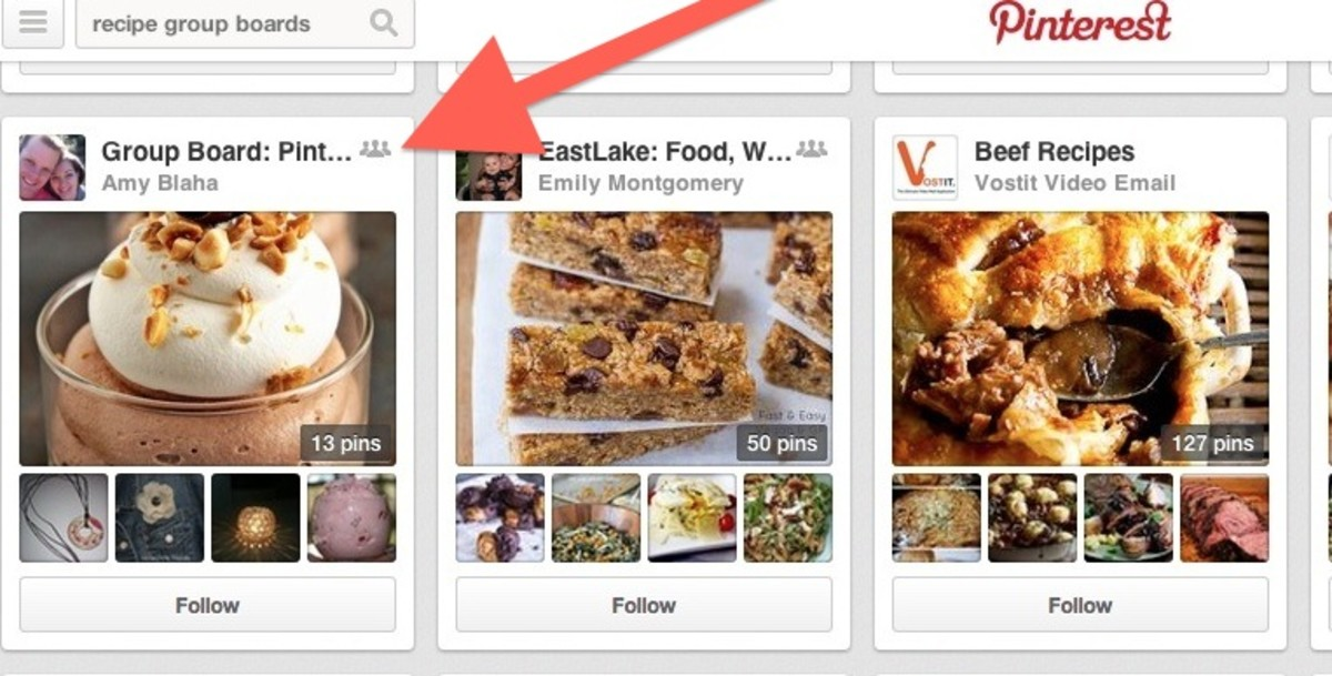 You can tell a Pinterest group board by the little group of three gray figures that are to the right of the board title.