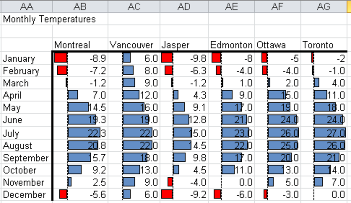 Conditional Formatting Data Bars configured to take advantage of all the configurable options available in Excel 2010.