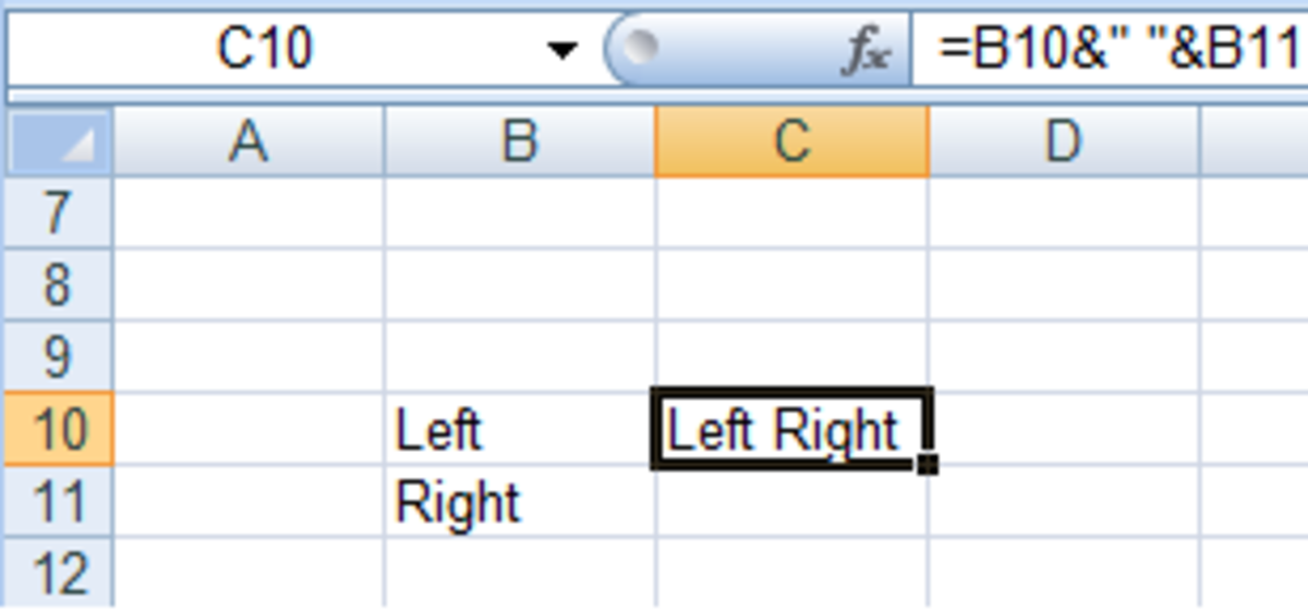 Using the & operator and adding spaces in a formula in Excel 2007 and Excel 2010.