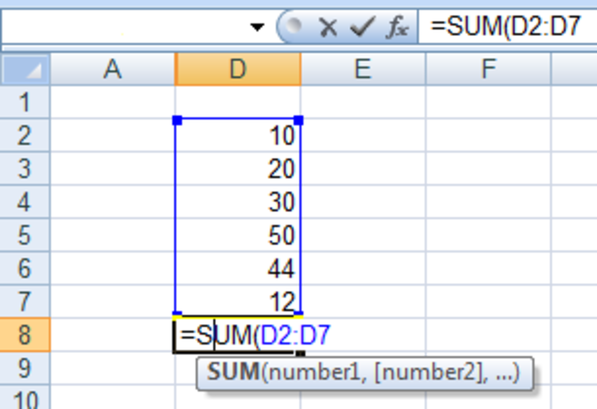 How to use the SUM function in a formula in Excel 2007 and Excel 2010.