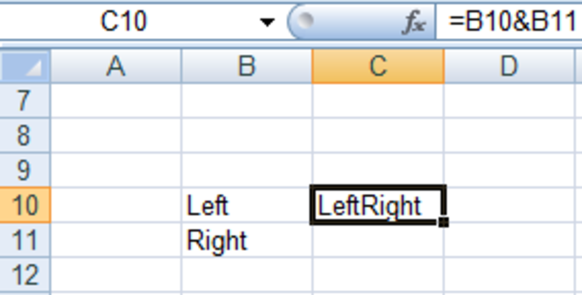 Using the & operator in formulas in Excel 2007 and Excel 2010.
