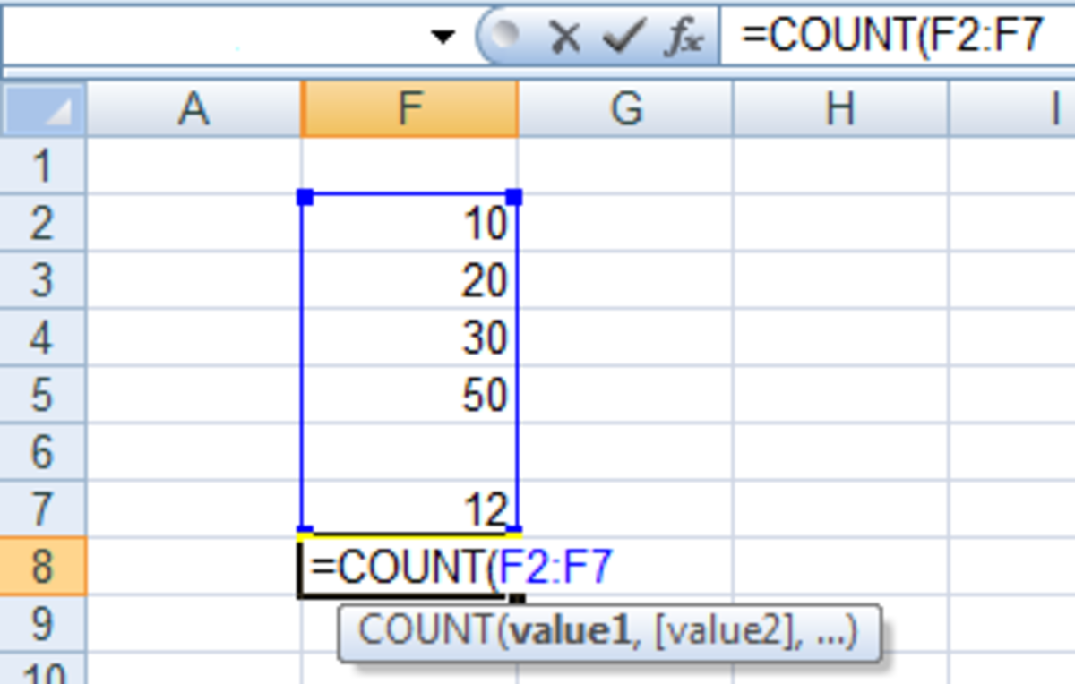 How to use the COUNT function in a formula in Excel 2007 and Excel 2010.