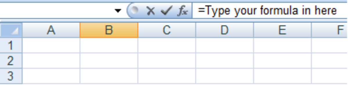 How to start entering a formula in Excel 2007 and Excel 2010.