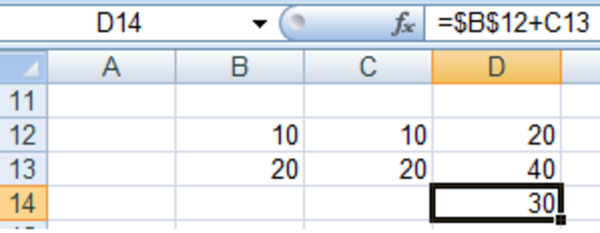 Using $ to change a cell to an absolute reference in a formula in Excel 2007 and Excel 2010.