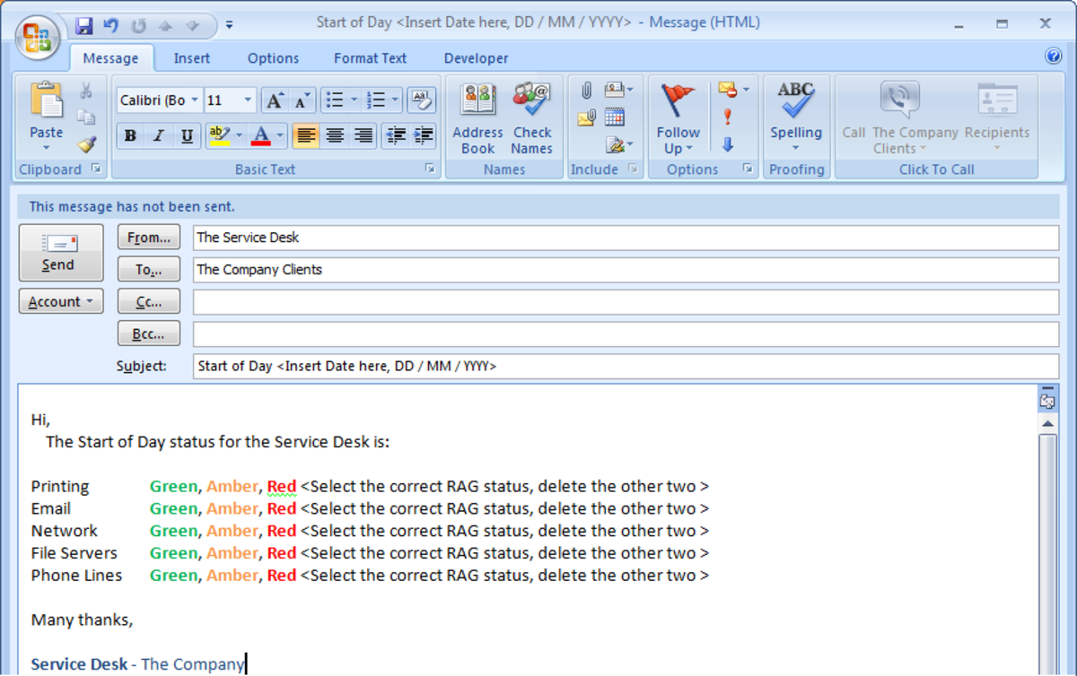 Creating and using templates in outlook 2007 and outlook for Saving a template in outlook
