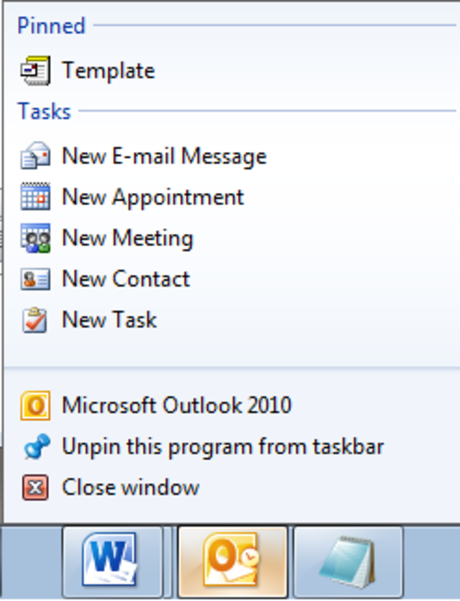 An Outlook template pinned to your Task bar to allow you to easily access it.
