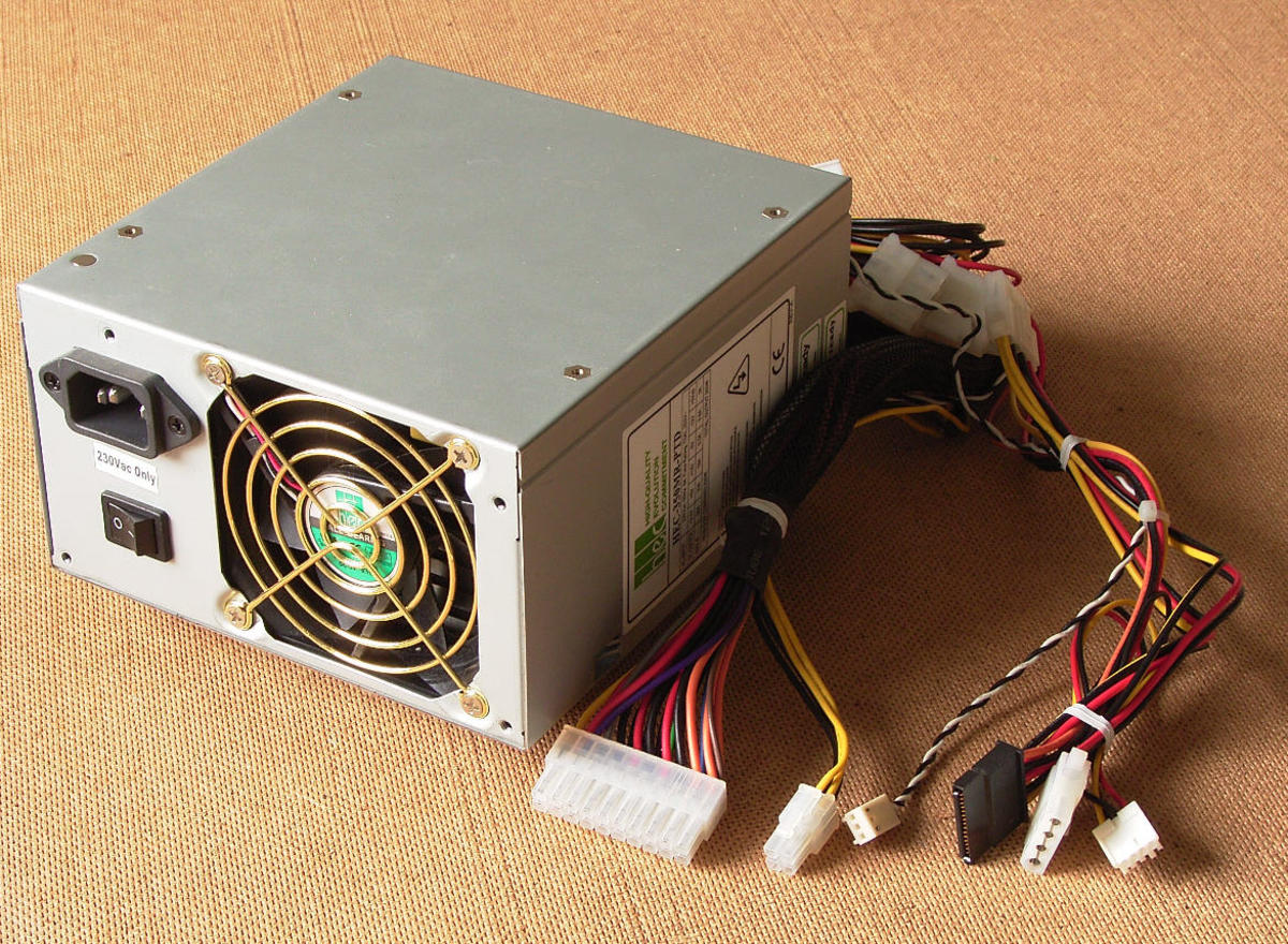 A simple power supply used in desktop computers. This unit supplies the regulated voltage necessary for computer to operate properly.