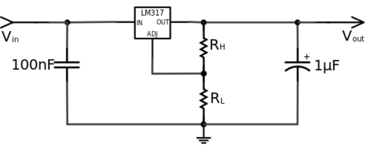 A typical schematic diagram of LM317. The major component, LM317 IC is used as adjustable voltage regulator.