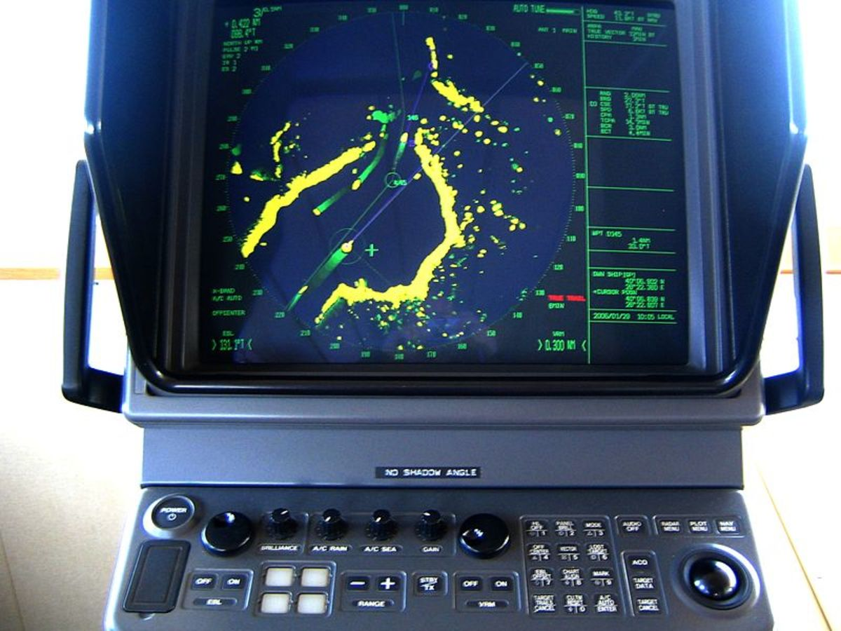 The photo displays the screen control unit of a maritime navigation and search radar.