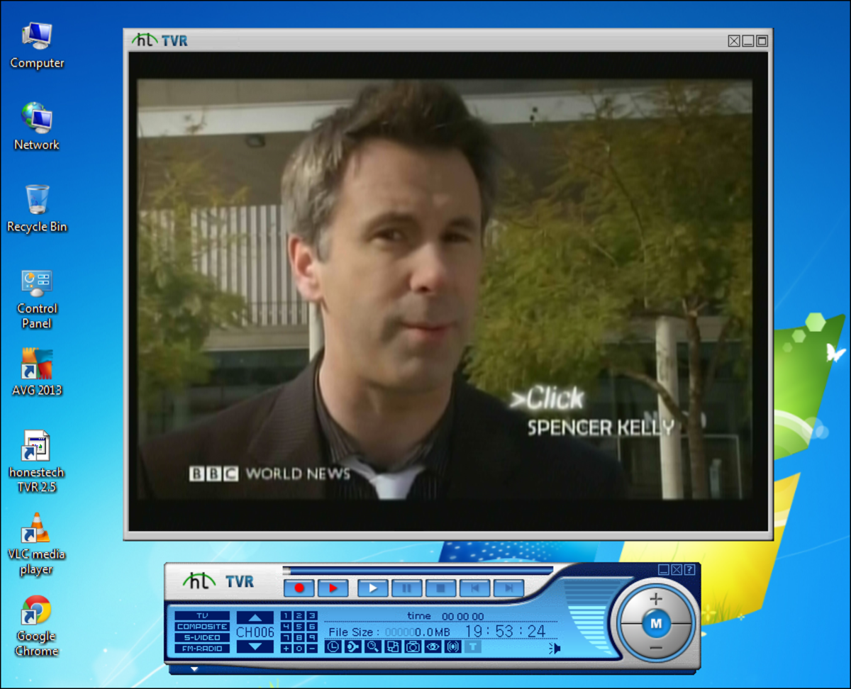 A broadcast via a TV tuner card