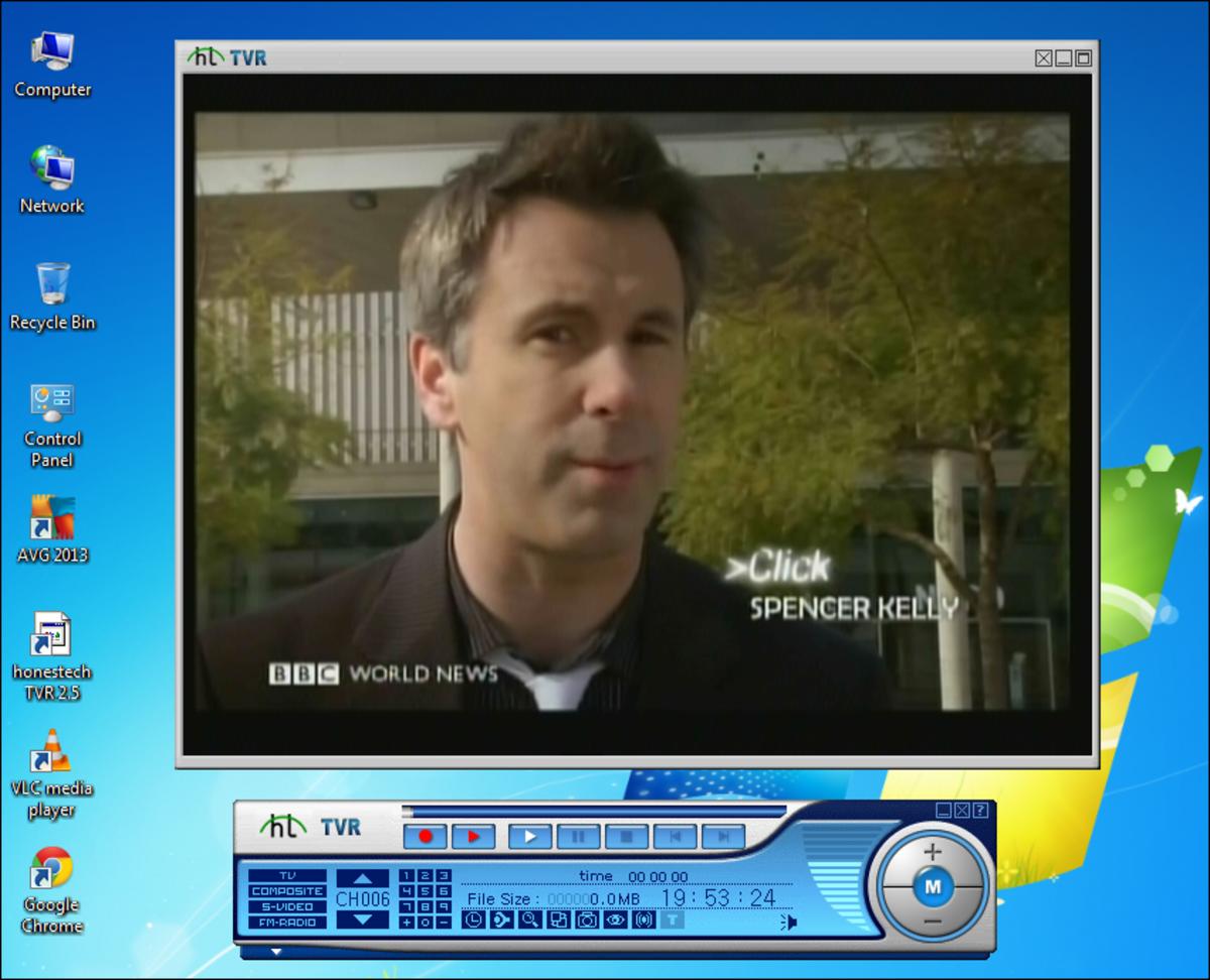A broadcast via a TV tuner card