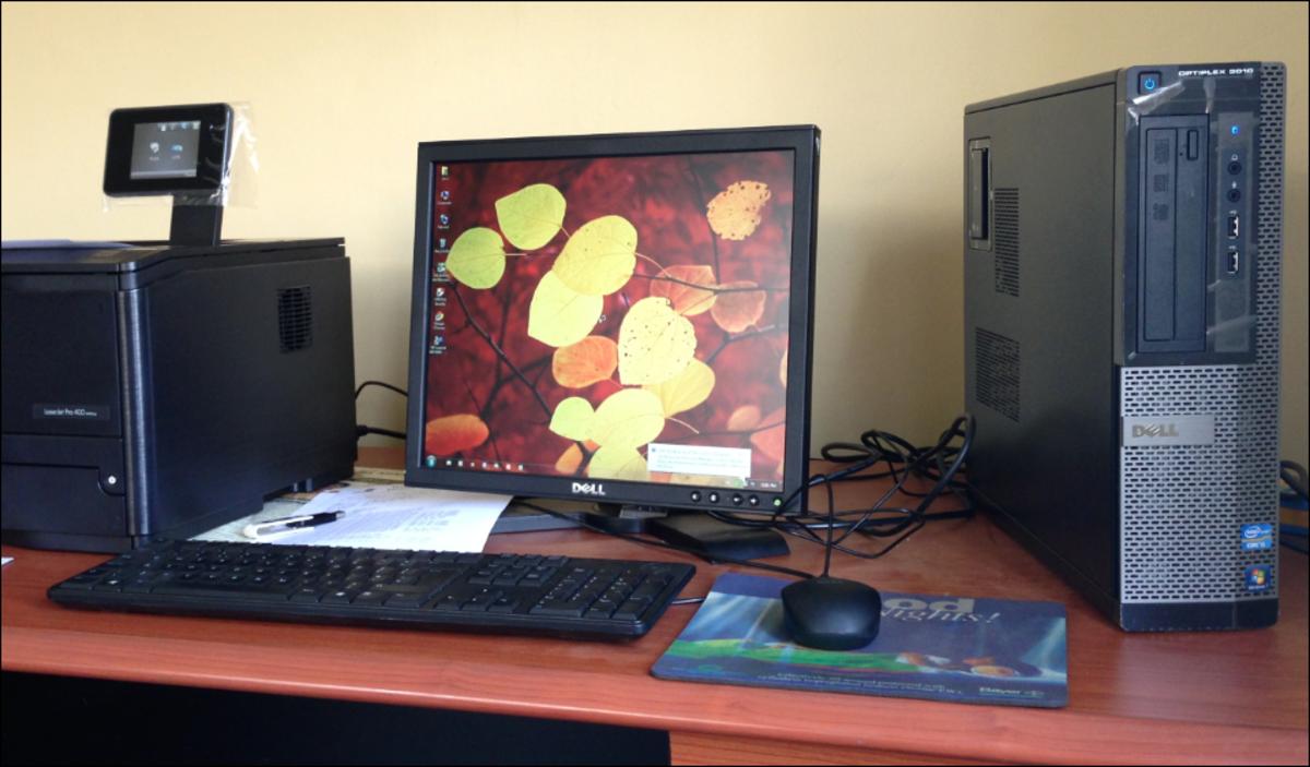 A desktop computer, an example of a personal computer