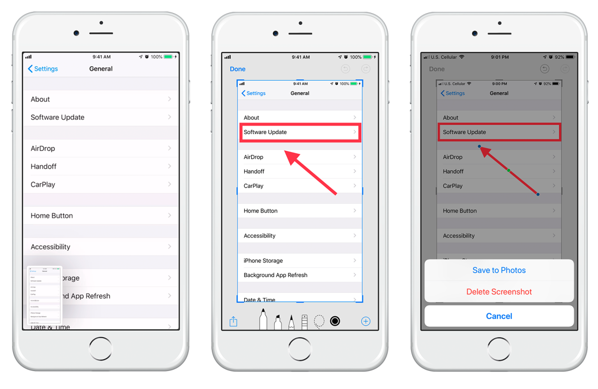 Capture, annotate, and save a screenshot on an iPhone