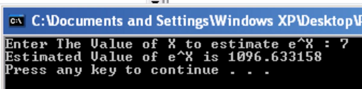 Program to estimate the value of e^x (e power x)