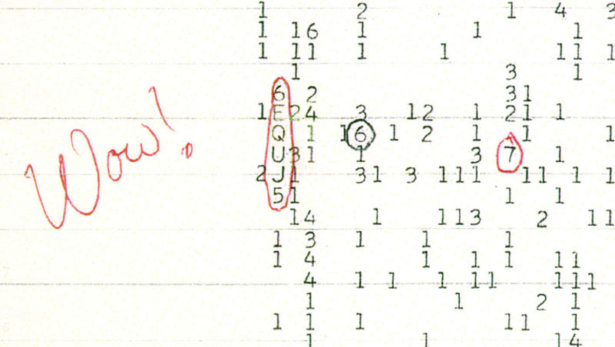 A copy of the original printout with The Wow! signal.