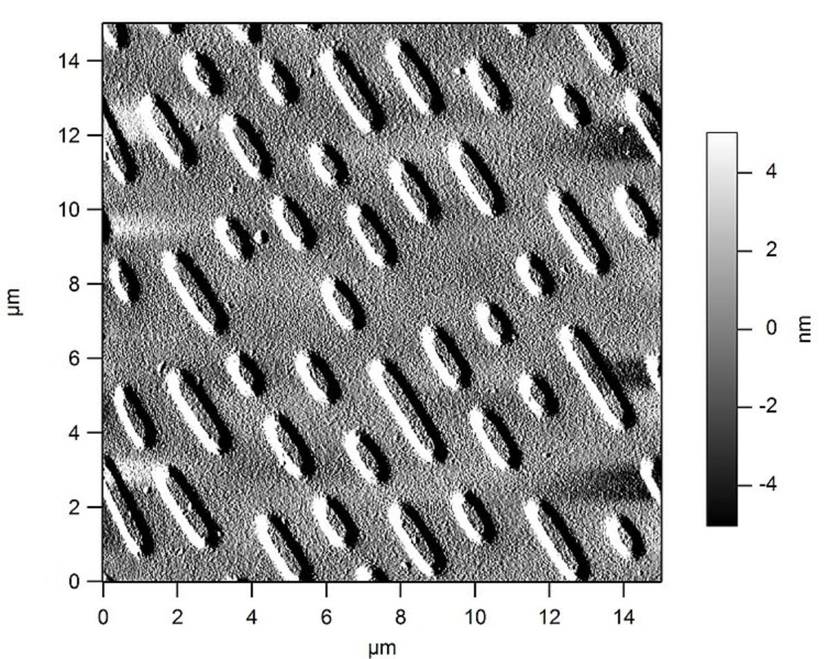 """Electron microscope image of a CD. Data is stored as """"pits"""" on the CD. Pits are approximately 100nm deep, 500 nm wide and 850nm to 3.5 microns long"""