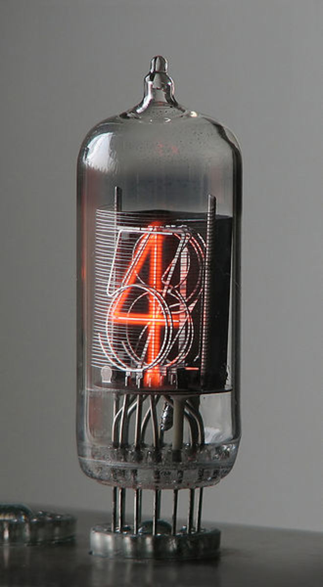 Nixie tube or cold cathode display. An early type of digital display