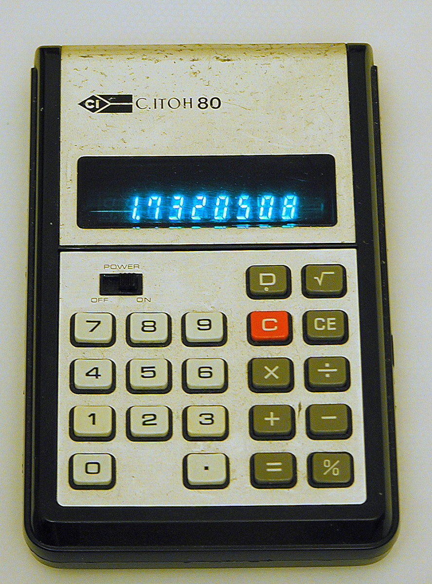 My vintage 1977 calculator. This has a miniature Nixie tube, cold cathode digital display