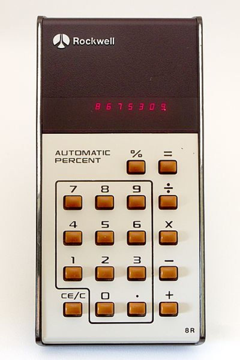 Vintage calculator with an LED digital display