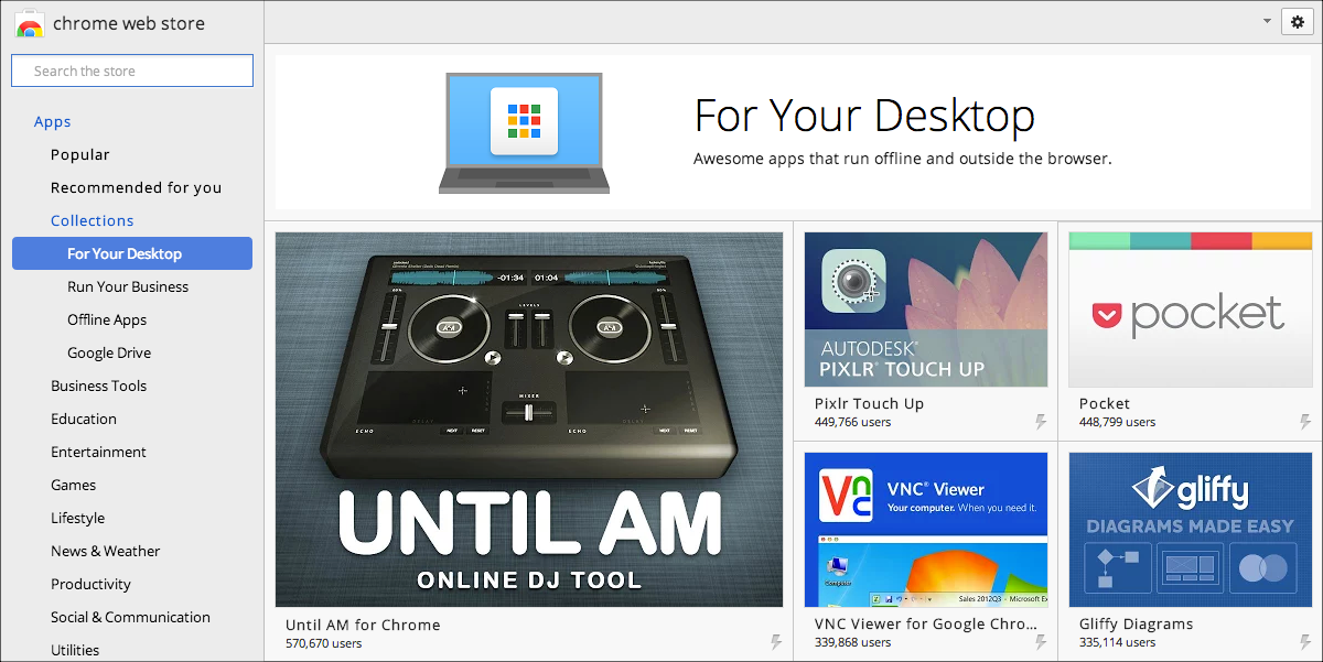 Chrome Desktop Apps in the Chrome Web Store
