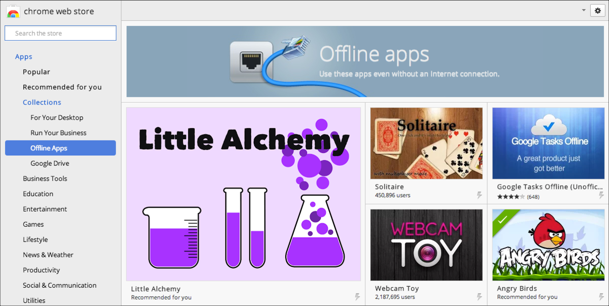 The Chrome Web Store collection of offline apps