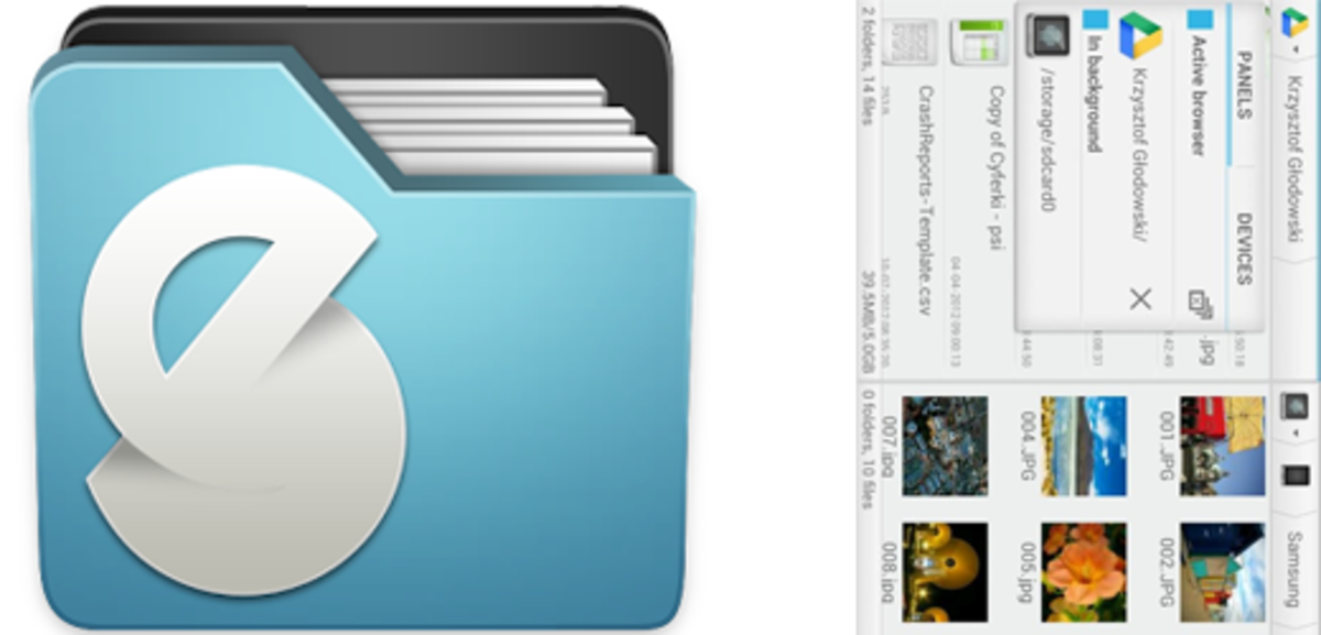 Solid Explorer provides you with two panels, making it very easy to copy and paste files from one location to another.