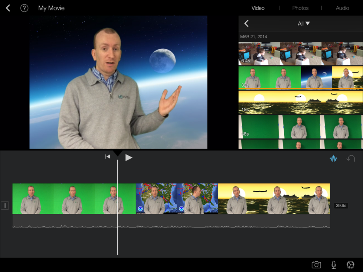 Save your green screen movie to the camera roll and you can edit it some more in iMovie