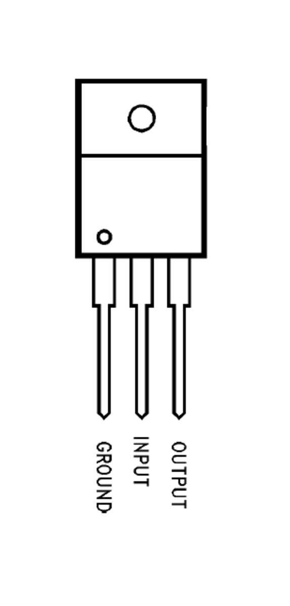 The pin 1 acts as the Ground terminal (0V). The pin 2 acts as the input terminal (5V to 24V).  The pin 3 acts as the output terminal (constant regulated 5V).