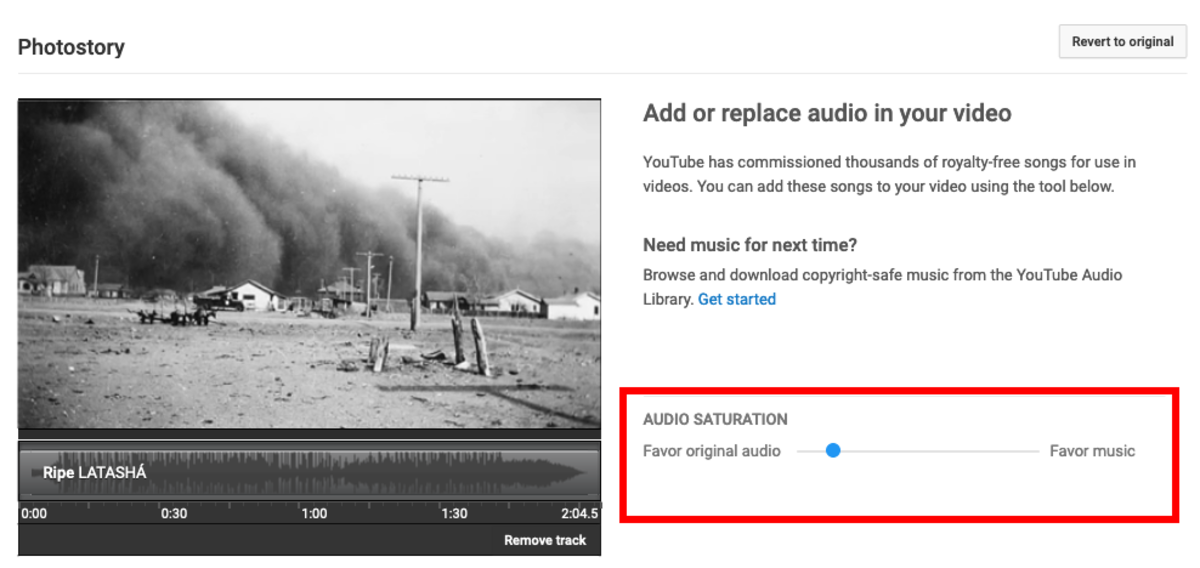 The Audio Saturation slider will let you adjust the volume of the music