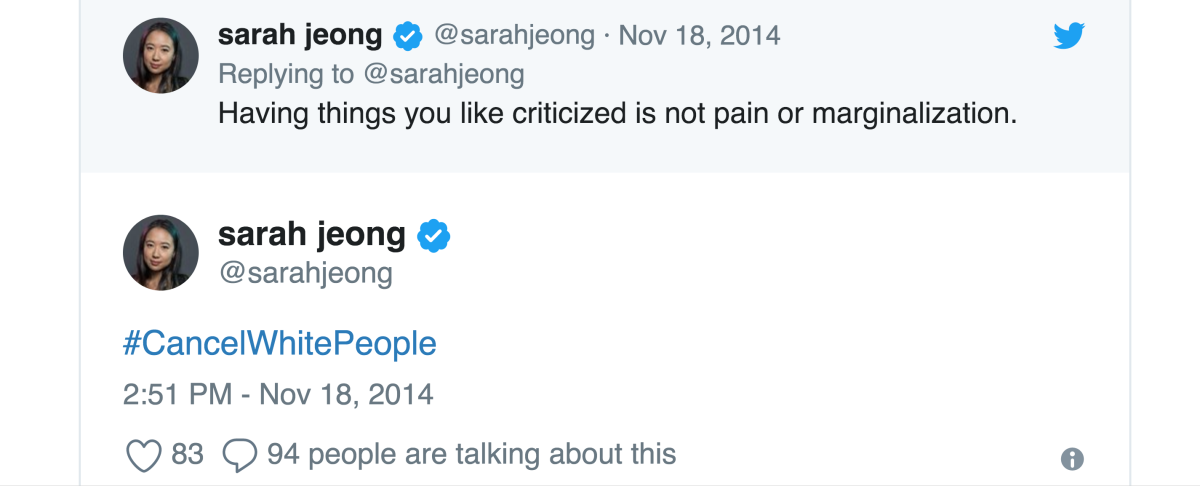 Tweets like these from Sarah Jeong caused an uproar when Twitter users dug up her old tweets.