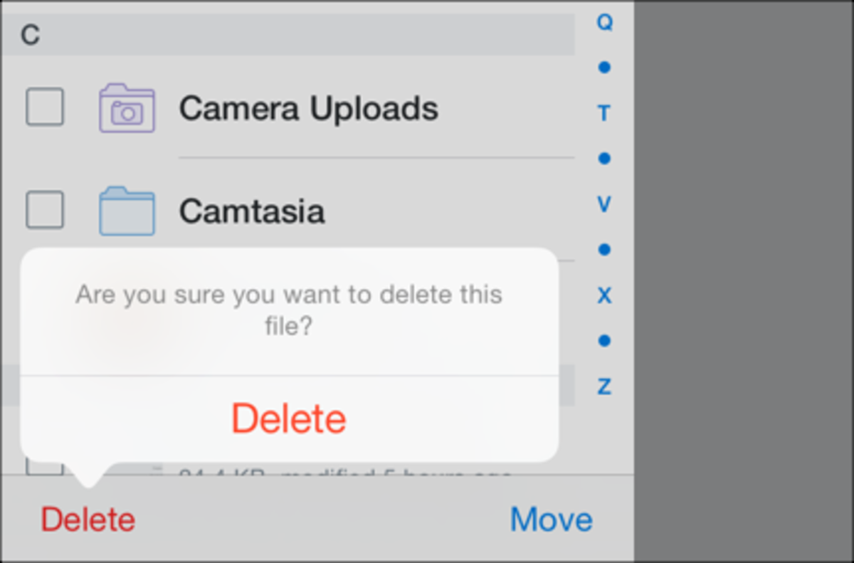 You can delete or move files easily with Dropbox for iPad