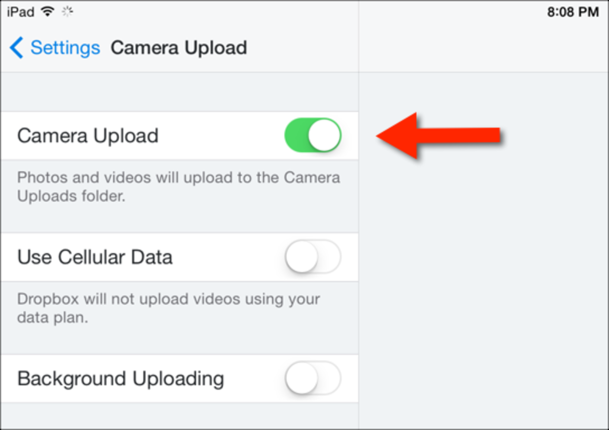 When enabled, photos and videos will automatically upload to Dropbox