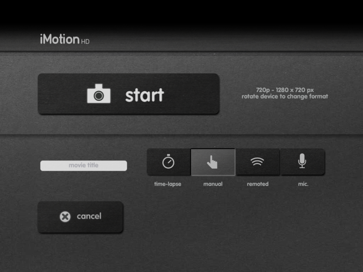 Screenshot of the iMotion HD iPad Stop Motion animation app
