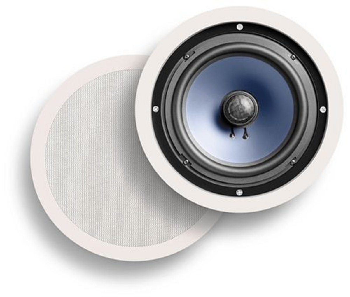 Polk Audio in-ceiling speakers (model: AW0080-B). Best for small rooms or shops.