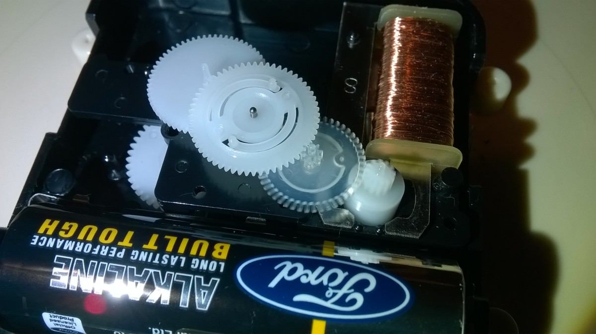 Nylon moving parts for machines. In this case, cogs in a battery clock