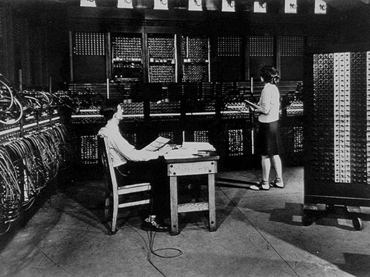 Judging by the saddle shoes, this photo of the Eniac computer dates back to the 1950's.