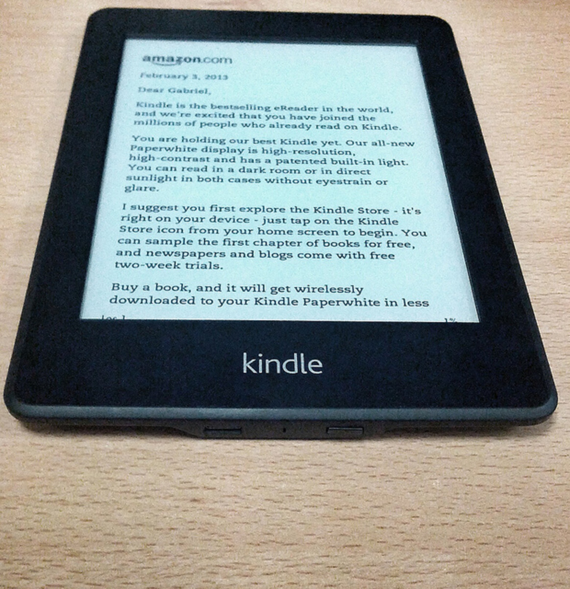 You can see the gentle glow of the Kindle Paperwhite in this picture. The settings allow for the lighting to be changed depending on the natural light available.