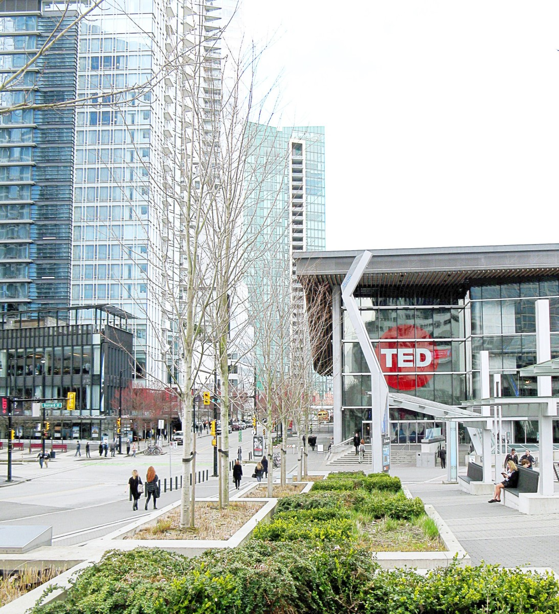 The Vancouver Convention Centre is located at Canada Place, which is located next to Burrard Inlet and a pier with a promenade.