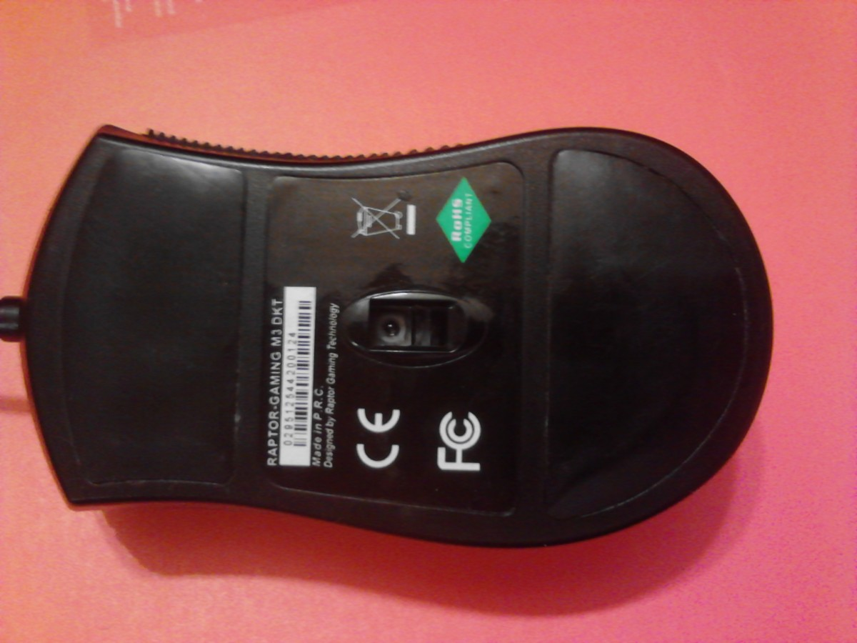 Bottom view of the mouse.