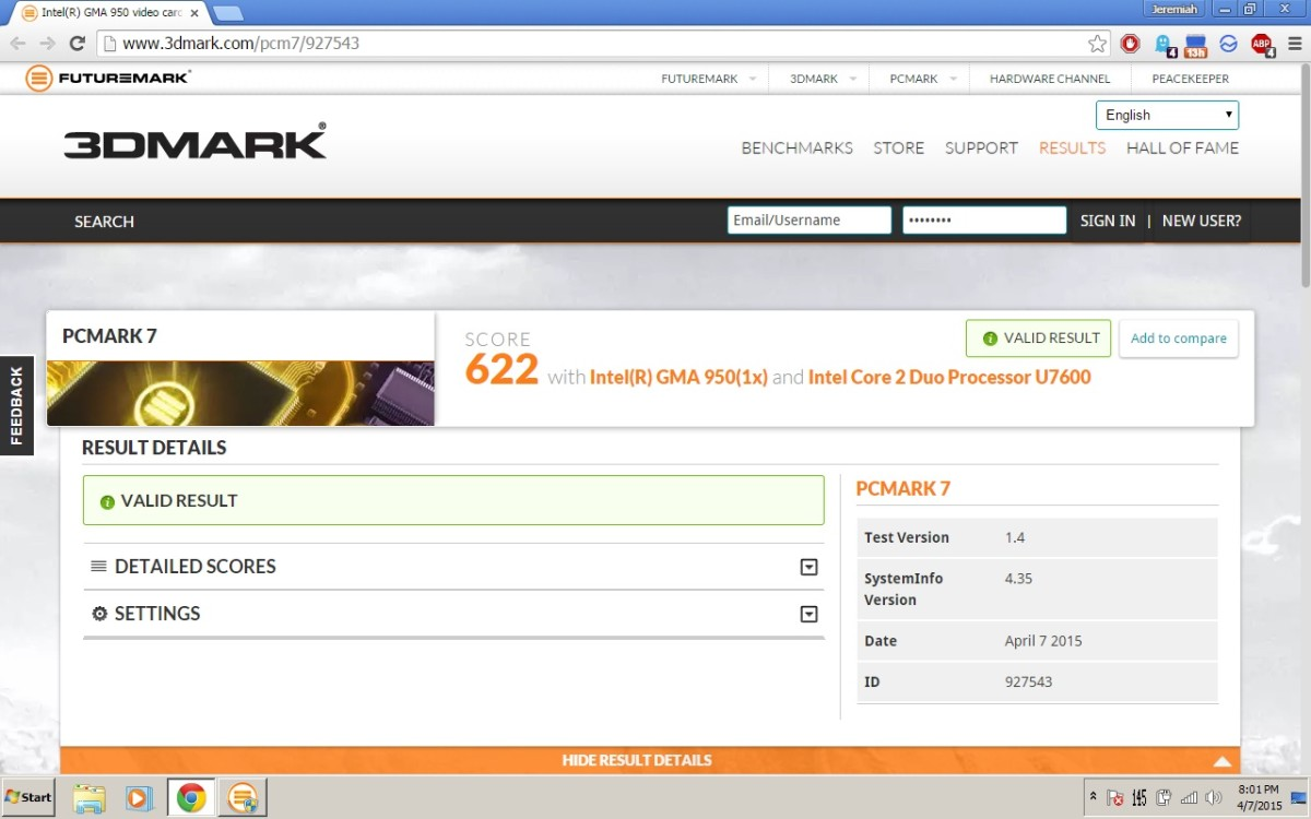 PCMark07 score with 2 GB of RAM.