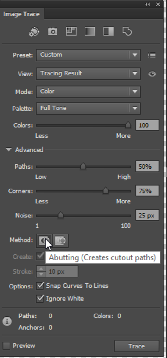Be sure to choose the correct settings before tracing your image.