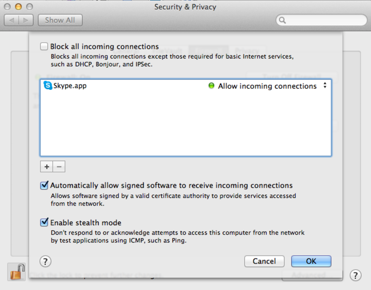 Enable stealth mode in Apple's Firewall