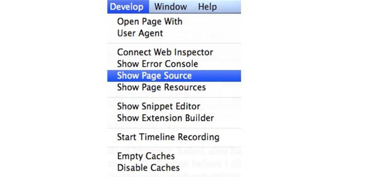 Show Page Source in Safari