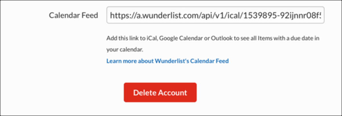 Access your account settings on the web to find your calendar feed