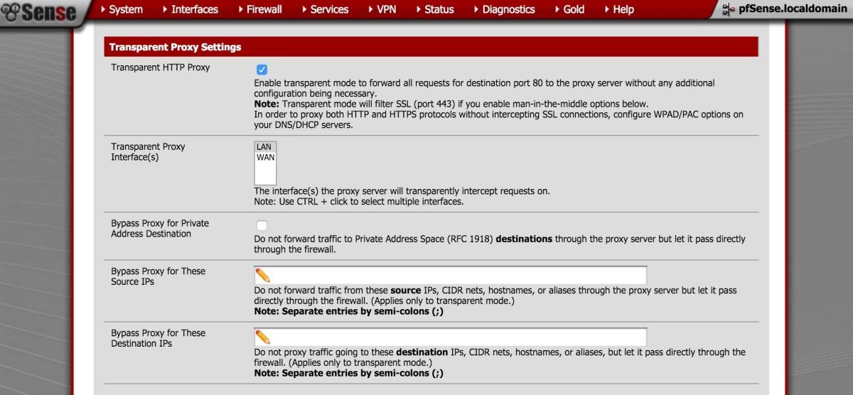 Squid3 transparent proxy settings in pfSense.