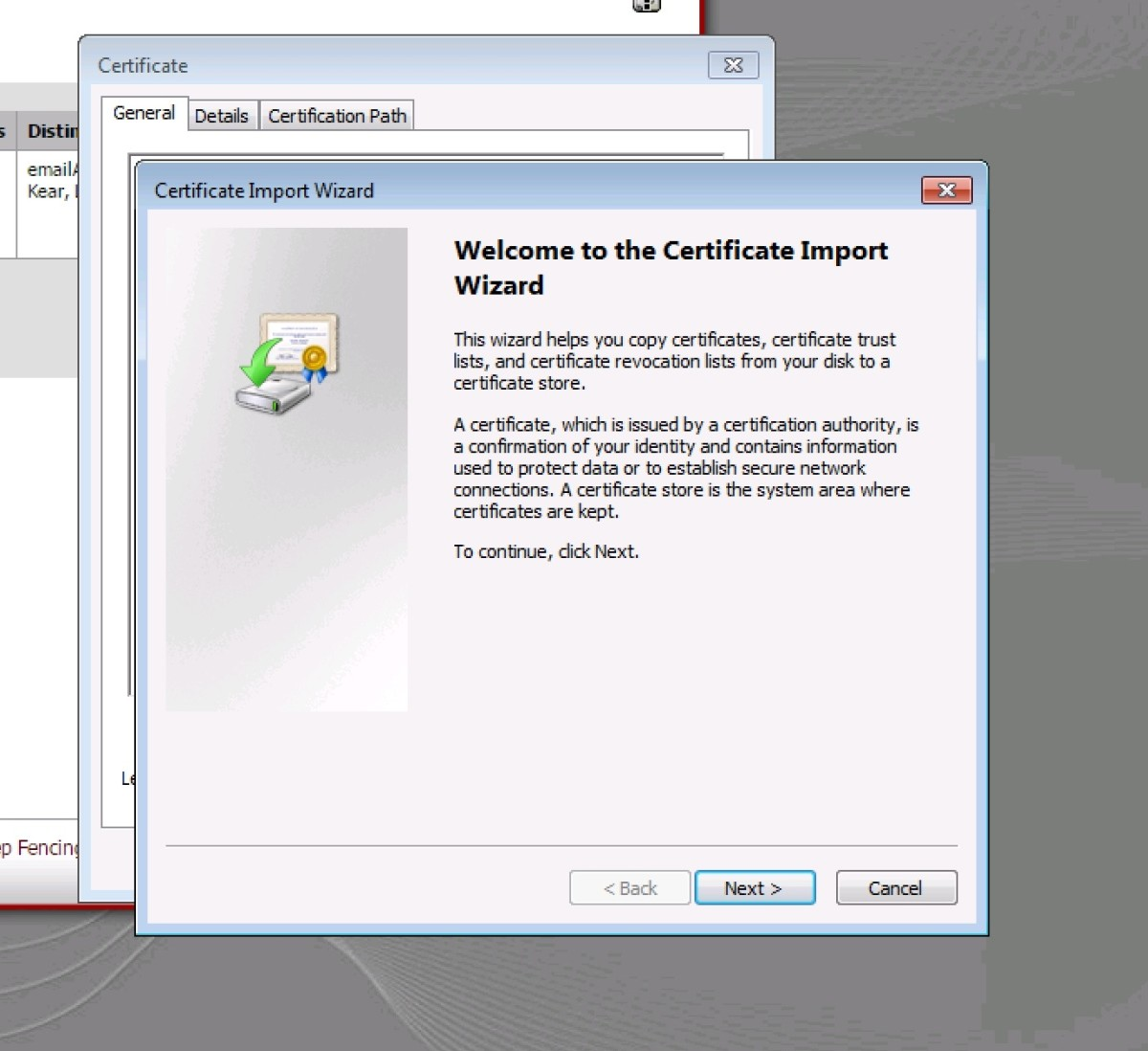 Windows 7 certificate installation wizard