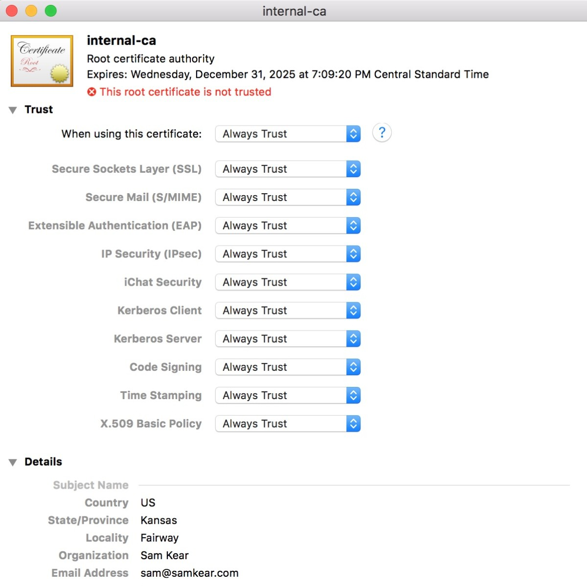 "Marking a certificate as ""Always Trusted"" in Mac OS X"