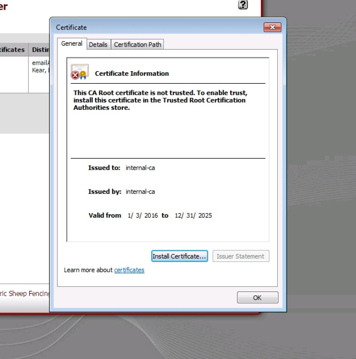 Windows 7 certificate properties dialog